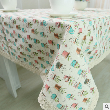 Pastoral Table Cloth Cotton&linen Tablecloth For Wedding Hotel Party Tablecloths Rectangle/Round Table cover Red blue gray brief(China (Mainland))