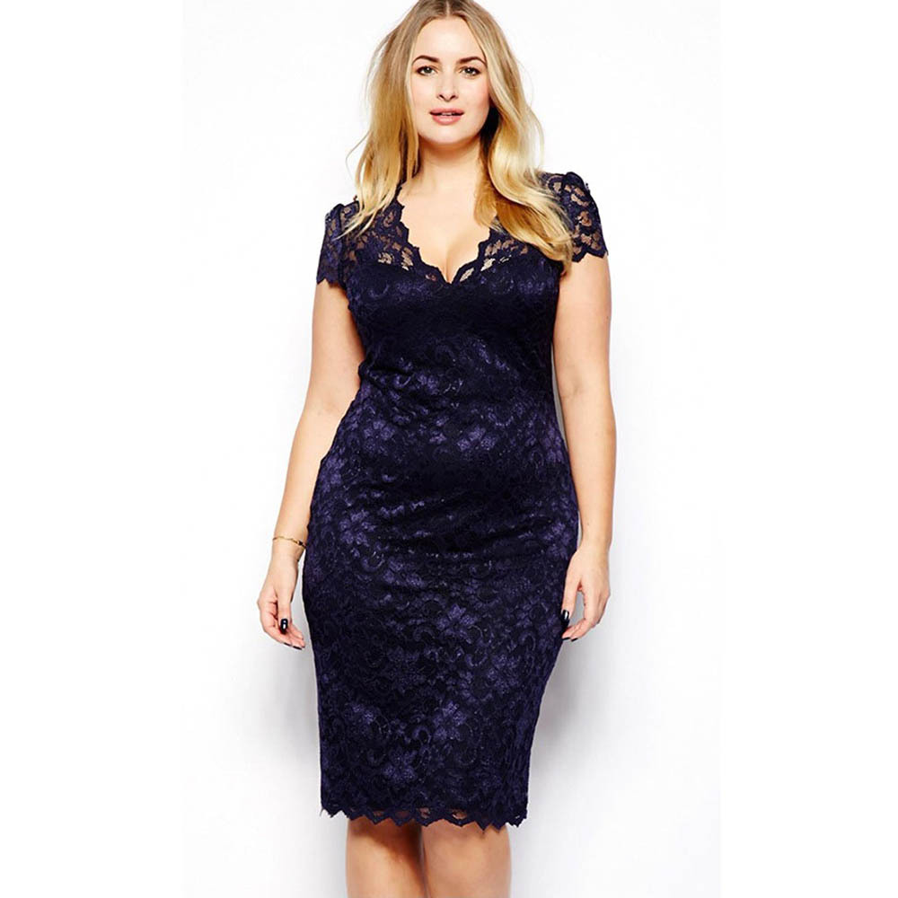 Plus Size Sexy Women's Lace Stretch Cocktail Party Bodycon Pencil Dress For(China (Mainland))