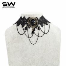 Vintage Gothic Lolita Punk Crystal Choker Necklace Black Victorian Style Resin Tassel Vampire Steampunk Torques Jewellery JN015(China (Mainland))