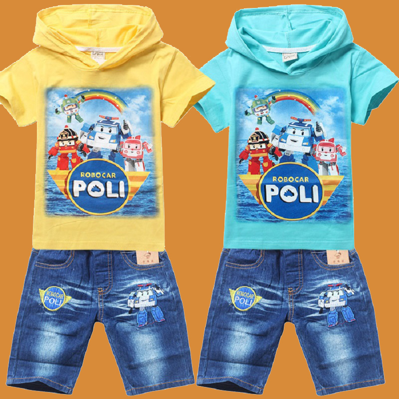 New 2016 POLI ROBOCAR Boys Clothes Kids Clothing Sets baby Boys Sport Suits T Shirt Jeans Shorts Pants Clothes Sets POLI ROBOCAR