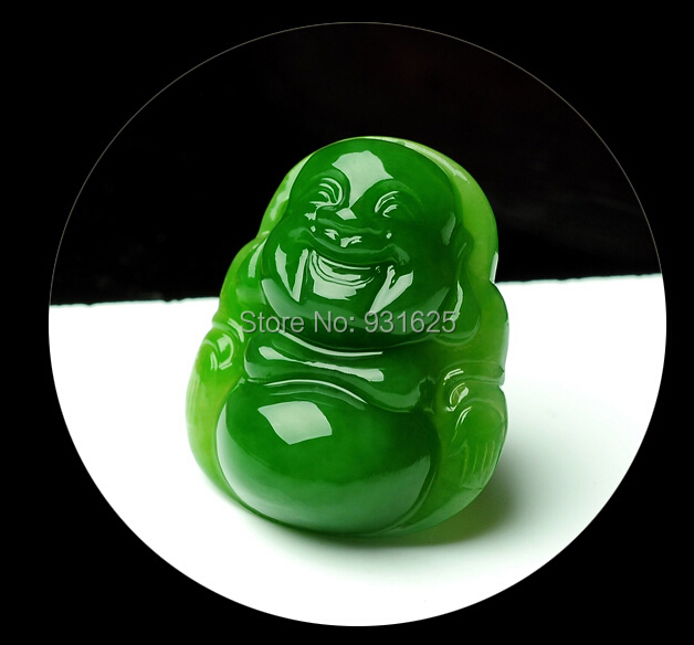 Wonderful Natural Real HeTian Jade Hand Carved Green Jade Buddha Lucky Amulet Pendants Necklace Fashion Jewelry +certificate<br>