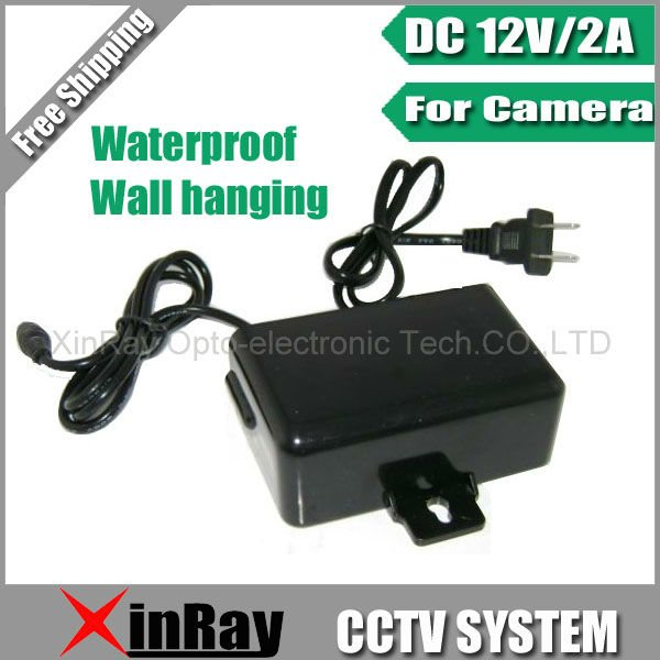 Free Shipping DC 12V 2A Power Supply Adapter  For CCTV Camera,European Wall Hanging Waterproof Outdoor Power Adapter XR-PA1(China (Mainland))