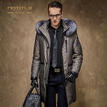 Men's winter down coat male medium-long down coat rabbit liner silver fox fur collar high quality business down outerwear parkas(China (Mainland))