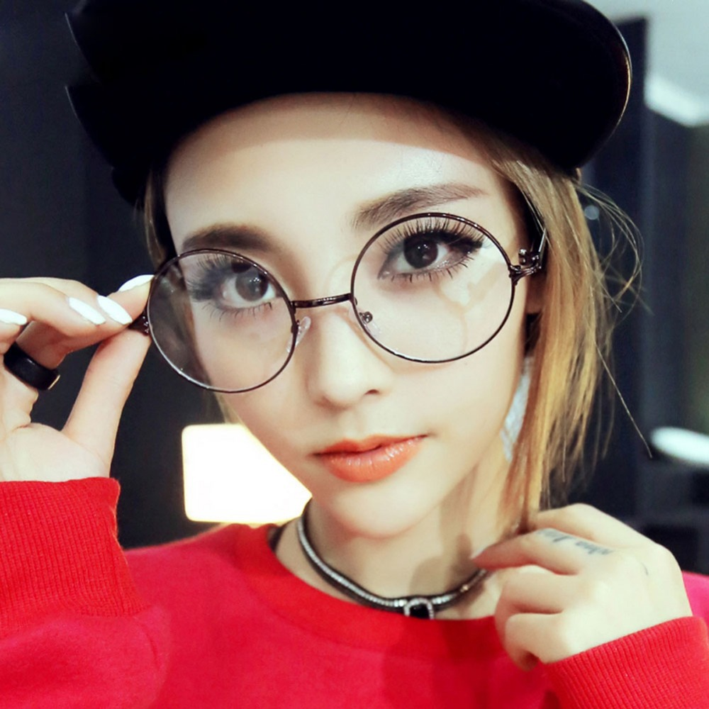 Big Circle Frame Glasses : Retro glasses frame round myopia female big optical ...