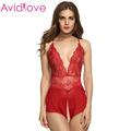 Avidlove Lady Women Babydoll Sleepwear Sexy Lace Mesh See through Lingerie Open Crotch Dress Set