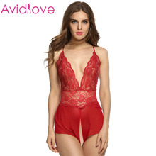 Avidlove Lady Women Babydoll Sleepwear Sexy Lace Mesh See-through Lingerie Open Crotch Dress Set