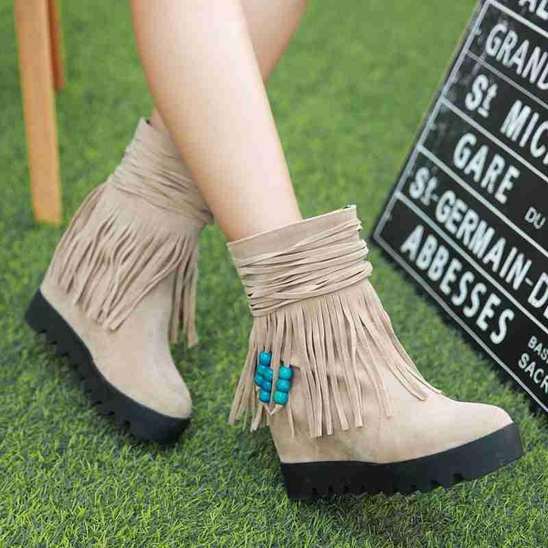 ซื้อ จัดส่งฟรี2016ใหม่มาถึงผู้หญิงรองเท้าพู่ประดับด้วยลูกปัดW Edgesรองเท้าส้นสูงปั๊มสีดำฤดูใบไม้ผลิฤดูหนาวรองเท้าหิมะสั้นSBT2157