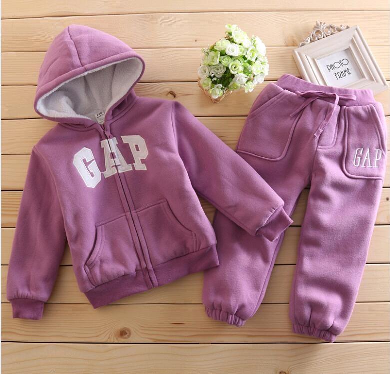 Скидки на Новый 2016 baby boy Осень Зима Дети Девушки берберский Руно Пальто комбинезоны Комплект Одежды Куртка Ватным Тампоном детская одежда