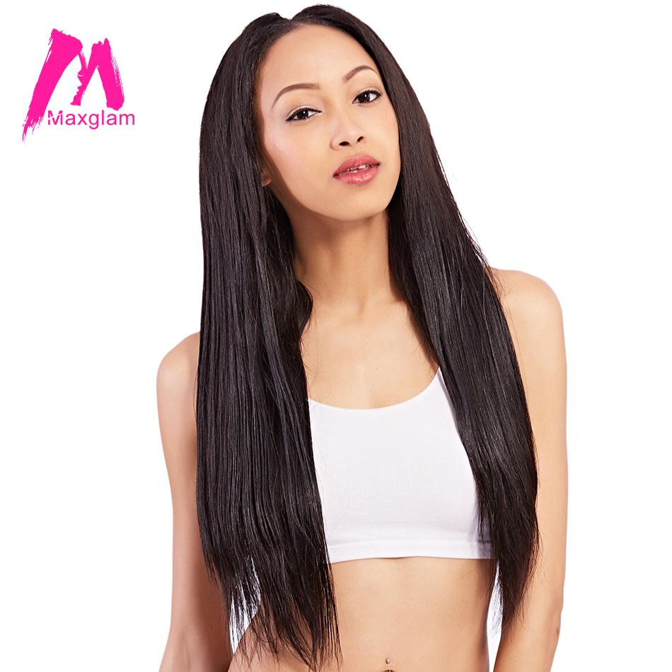 Maxglam Human Hair Weave Bundles Straight Indian Remy Hair Natural Color Free Shipping(China (Mainland))