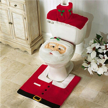 New Year Best Gift Happy Christmas Santa Toilet Seat Cover & Rug Bathroom Set Christmas Decorations(China (Mainland))