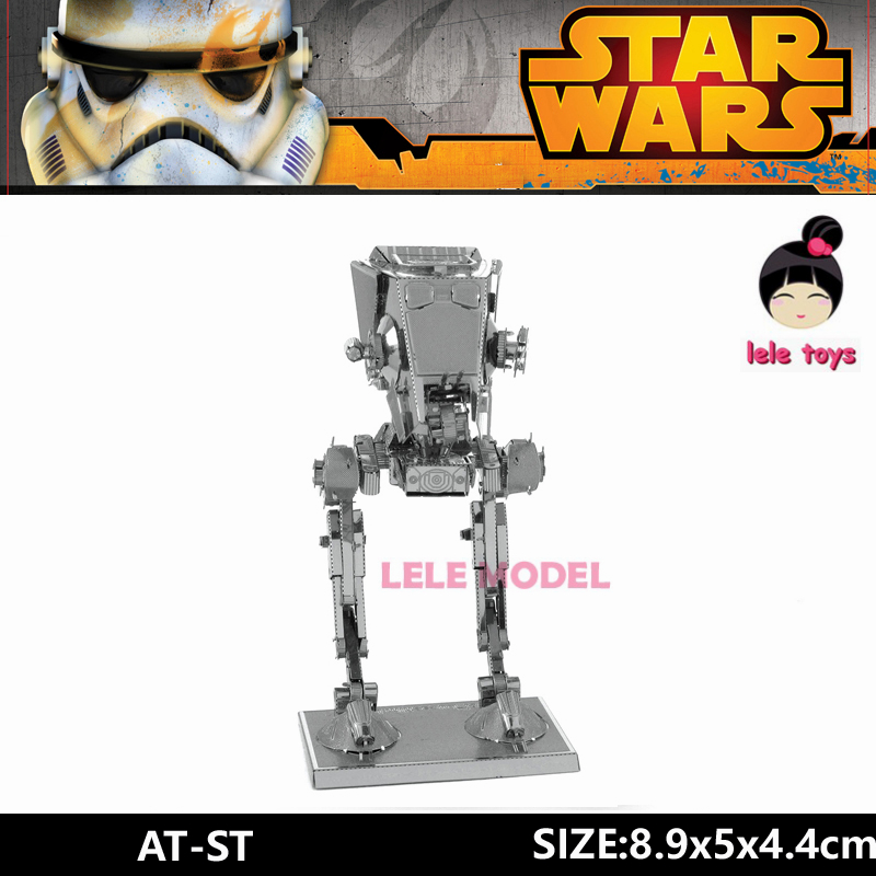 AT-ST 6 inch Assembling Star Wars 3D Metal model Etching puzzle stainless steel DIY creative gifts ICONX  2 Sheets<br><br>Aliexpress