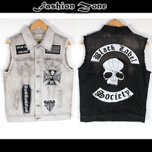 summer spring&autumn Punk  hip hop Denim vest Jeans Men's Vest embroidery sleeveless clothing skulls motorcycle fashion coat(China (Mainland))