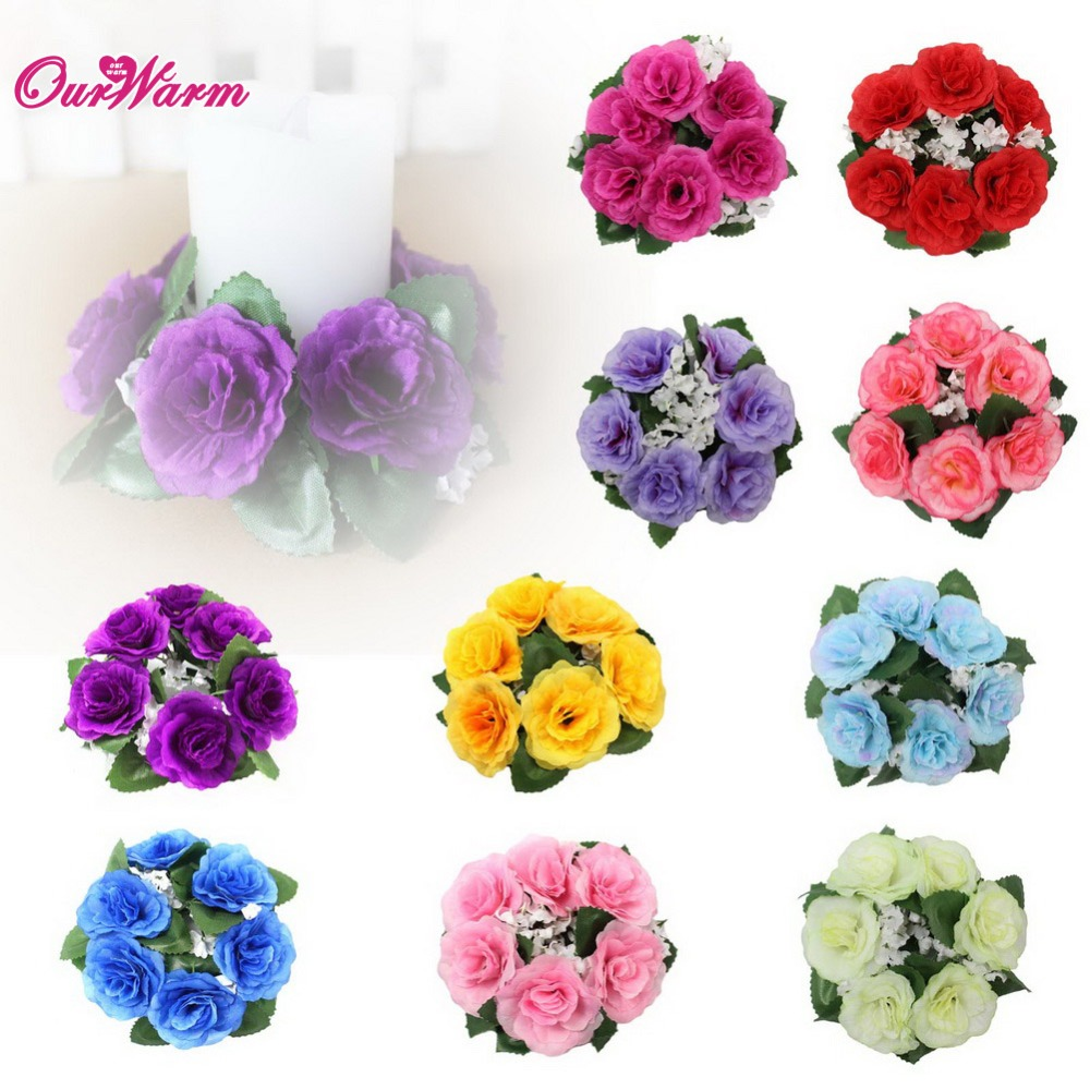 10Pcs/lot Floral Candle Rings 3.5*10cm Wedding Centerpieces Silk Roses Flowers Unity Candle Party Home Vase Decoration(China (Mainland))