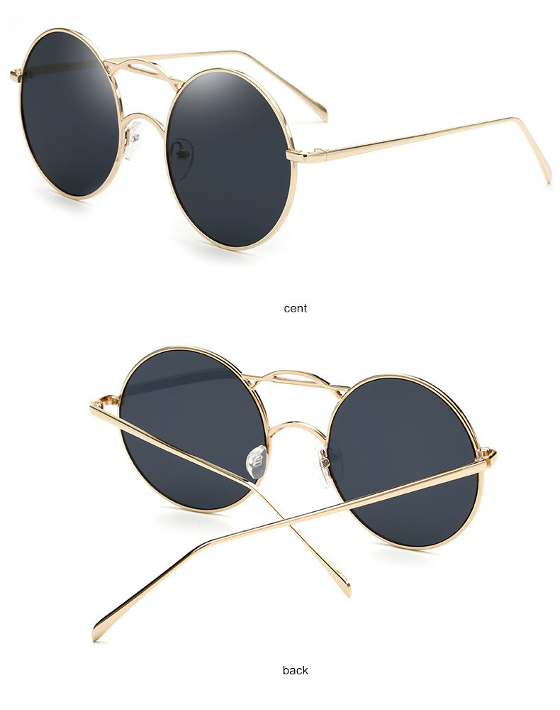 Oval Metal Frame vintage retro Sunglasses Women Female Luxury Brand Designer Eyewear Retro Mirror Sun Glasses lady or Flat d