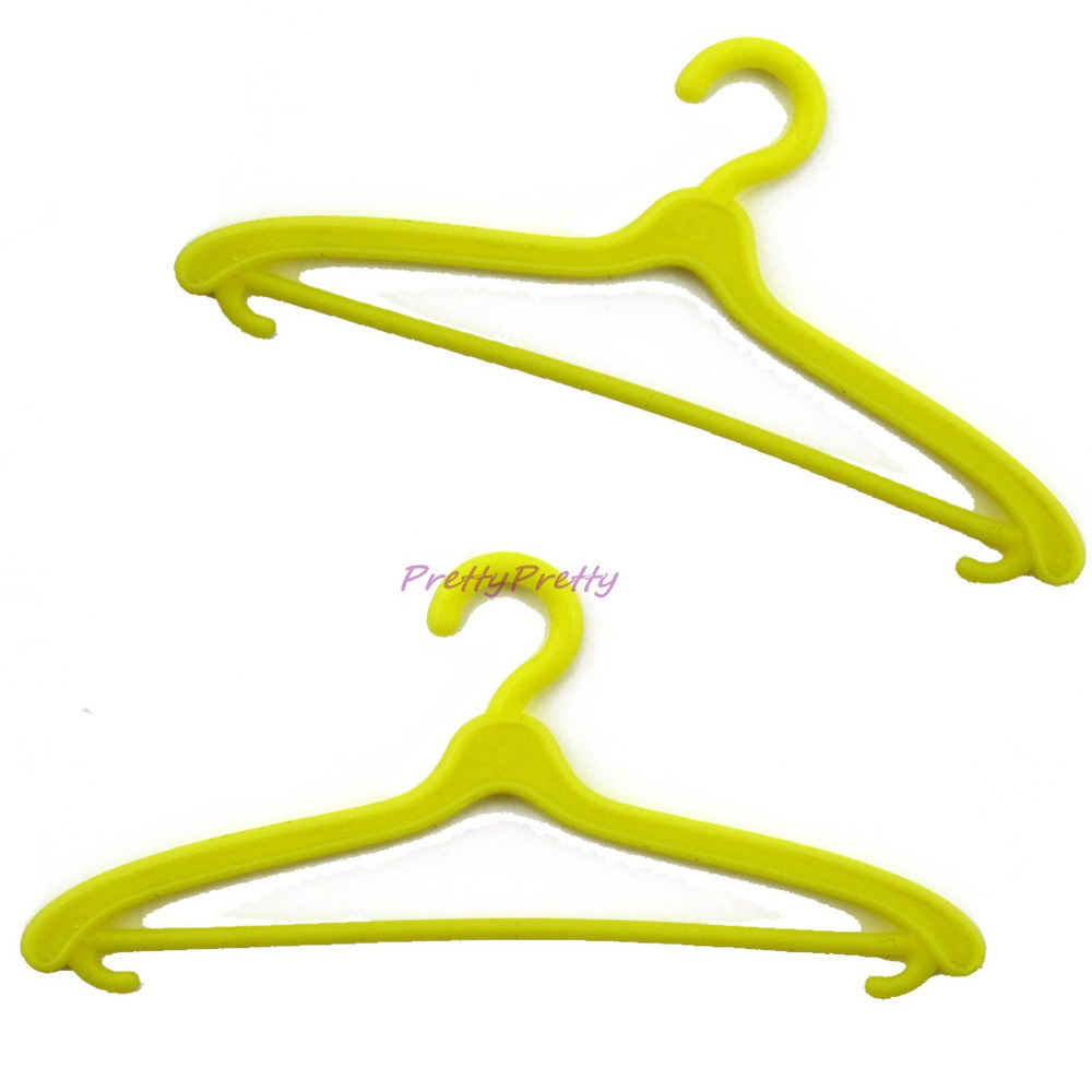 """Lot 20 Pcs Yellow 11"""" Doll Hangers Dress Clothes Accessories For Barbie Doll Pretend Play Girls' Gift Free Shipping(China (Mainland))"""