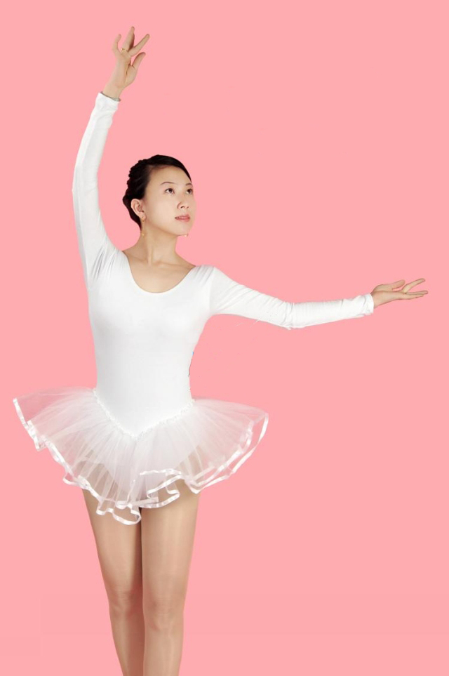 Long Sleeve Adults Ballet Dance Leotard Dress Women Tutu, White, pink, black, rose, S-XXXL Available, 90% Cotton - Continent store