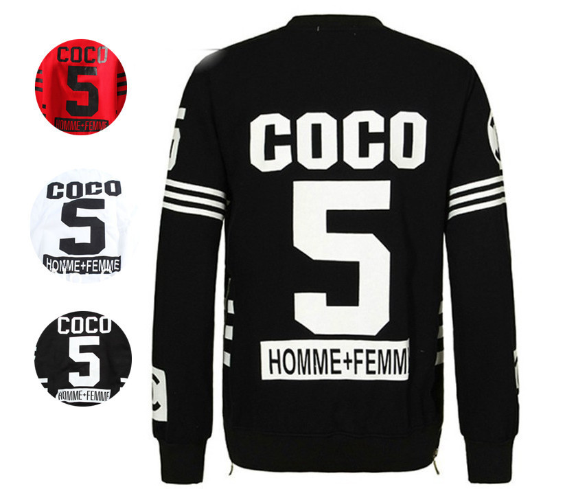 homme femm coco 5 cc sweatershirt pullovers streetwear Hip hop hoodies women men clothes sport suit(China (Mainland))