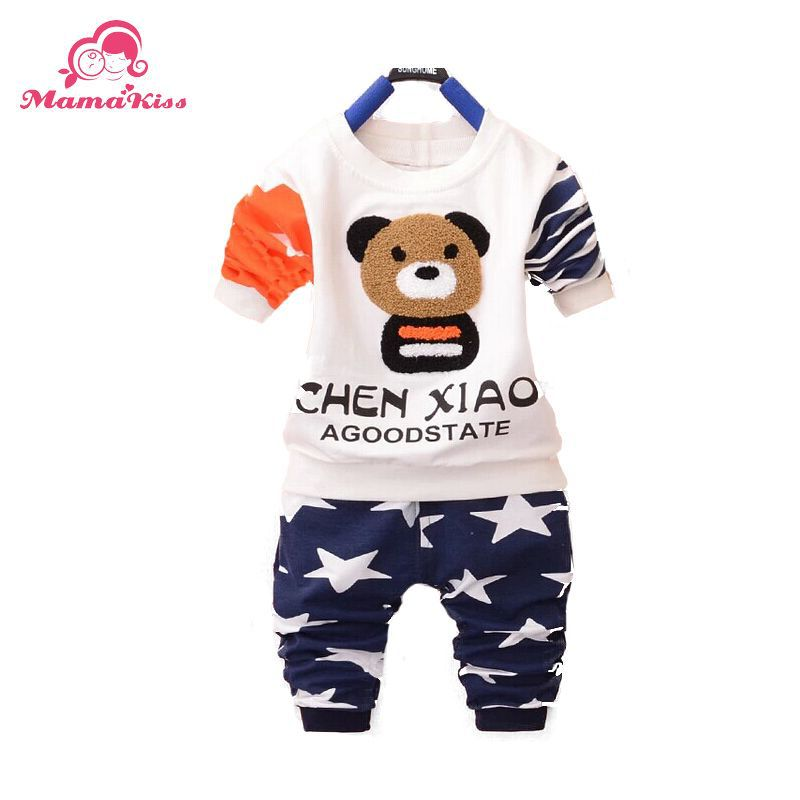 2016 New Fashion Autumn Baby Boys Suit set O Neck Full Sleeve Bear Patchwork A250 - Helen Children's clothing shop store