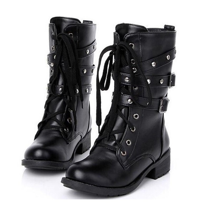 Hot Sale Women Spring Autumn Biker Leather Fashion Motorcycle Boots Ladies Vintage Rivet Combat Army Punk Goth Ankle Shoes(China (Mainland))