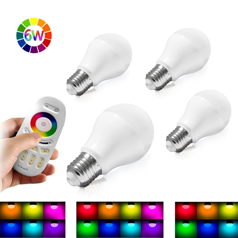 Mi Light 4PCS 6W Smart RGB LED Bulb E27 2.4G Wireless Remote RGBW Warm White Dimmable Lamp with One Touch Remote Controller(China (Mainland))