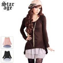 L~3XL Korean Slim Lace Faux Two-piece Long Sleeve Dresses 2016 Spring Autumn Plus Size Women Clothing Pink/Black/Brown 1523(China (Mainland))