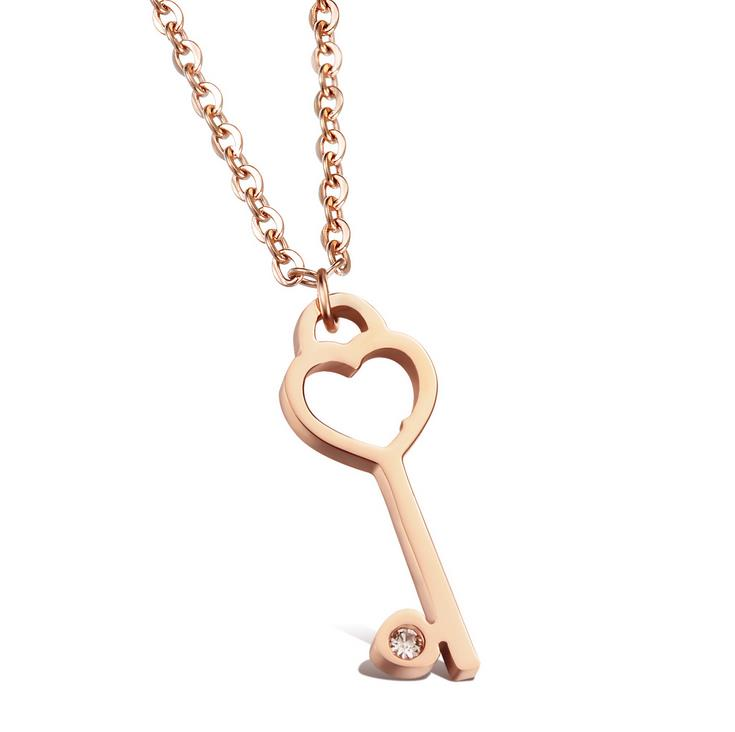 Fashion Heart Rose Gold Key With AAA CA Pendant Necklace 316L Stainless steel and Crystal jewelry necklaces & pendants Girl gift(China (Mainland))