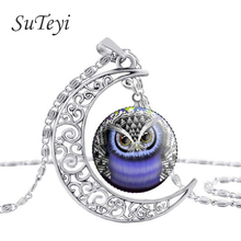 SUTEYI Hot Owl Necklace Round Glass Animal Pendant Necklaces Owl Moon Silver Chain Jewelry Accessories High Quality Gift(China (Mainland))