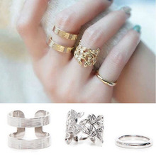 New 3pcs/lot Shiny Punk Polish hollow flowe Midi Mid Finger Knuckle Ring Set B8R12C