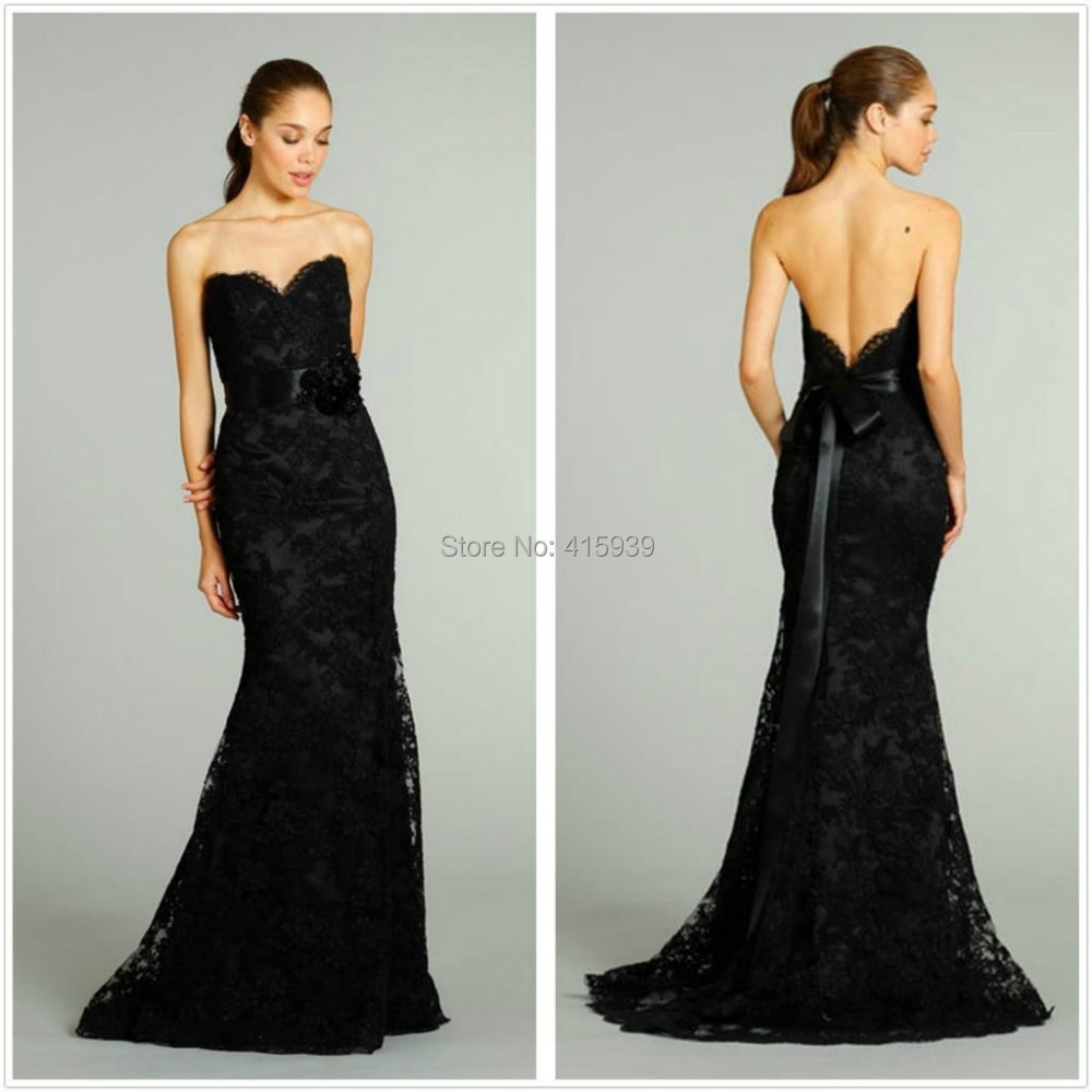 Black Wedding Dress Color : Black color mermaid sweetheart backless long lace bridal gown wedding