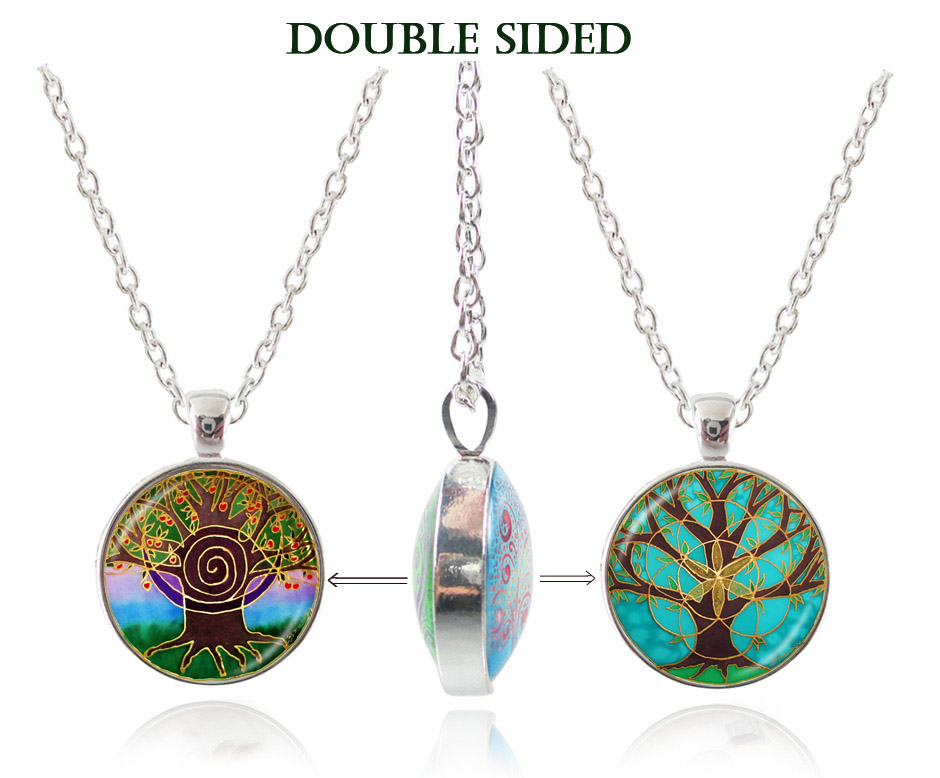 Life tree pendant necklace double sided art tree glass dome choker necklace women jewelry yoga mandala pendant chakra jewelry<br><br>Aliexpress