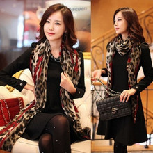 Women Girl Leopard Shawl Gauze Long Wrap Stole Chiffon Soft Scarf High Quality(China (Mainland))