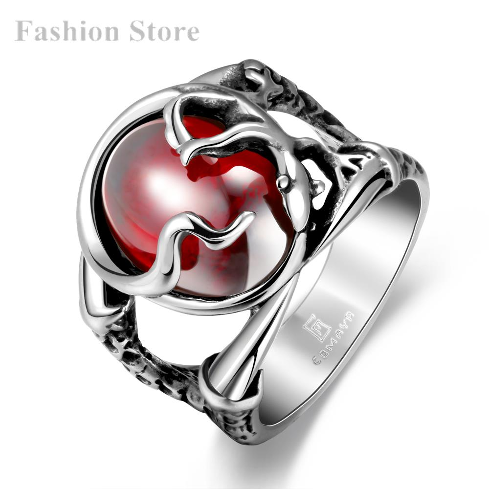 Popular Fashion Jewelry 316L Stainless Steel Punk Ring Stylish Ruby Men Party R189-8 - Jewels for Women store