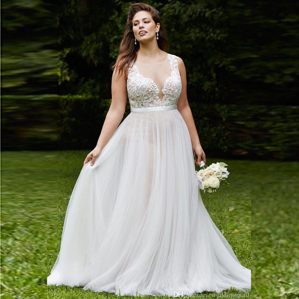 Buy plus size simple see through neck for See through lace wedding dress
