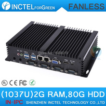 Fanless single board computer USB 3.0 Dual Gigabit 4 COM HDMI Auto Boot Intel Celeron C1037U 1.8G 2G RAM 80G HDD Windows Linux(China (Mainland))