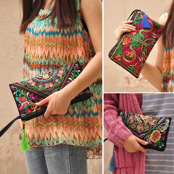 Factory Price! New Women Handbag Purse Elegant Handmade Day Clutches National Retro Embroidered Bag(China (Mainland))