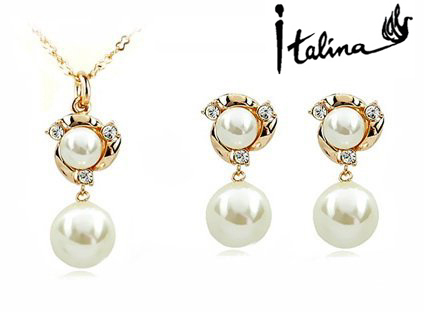 New Sale Real Italina R.A Austrian Crystals  18K Gold plated Pearl Jewelry Set for women  #RA80537+20305