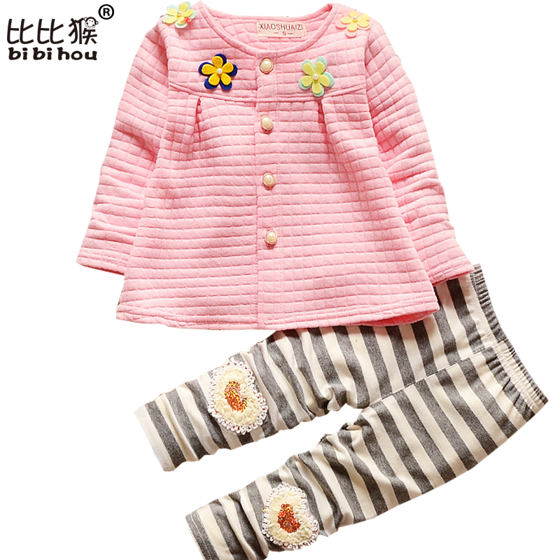 2017 New Fashion Flower Baby Girls Clothing Set Spring Autumn Outfit Baby Girl Spring Long-Sleeves Newborn Coat and Pants Infant(China (Mainland))