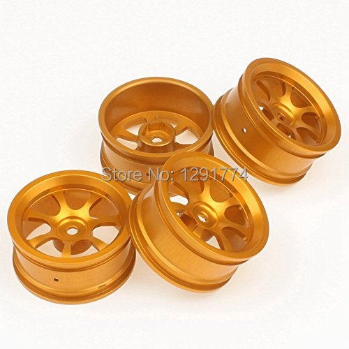 Aluminum Alloy Wheel Rims With 7 Spoke For RC 1:10 On Road Car Gold Pack Of 4(China (Mainland))