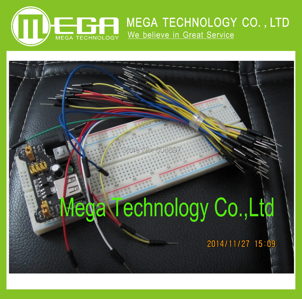 3.3V/5V MB102 Breadboard power module+MB-102 830 points Solderless Prototype Bread board kit +65 Flexible jumper wires(China (Mainland))