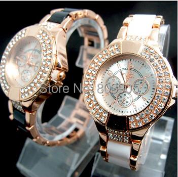 Fashion Rose Gold Tone Crystal Watch Women Ladies Quartz Dress Wristwatches TW036 - Super Jewelry Market(Min order=15usd store)