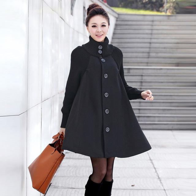 holiday sale2012 New Korea Style Winter Coat Loose and Comfortable Mandarin Collar Wooden Yarn Cloak Tweed Coat