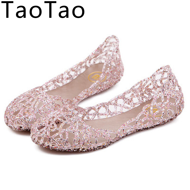 2016 Shallow Leisure Women Sandals Summer Crystal Cut out Flats Flat Heel Shoes Female Jelly sandals Free shipping C058(China (Mainland))