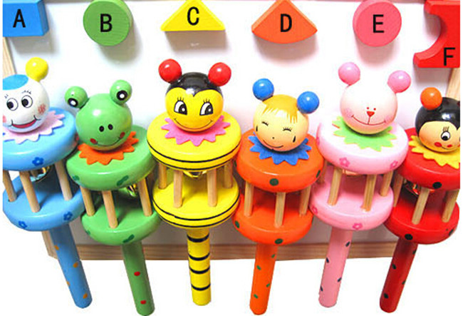 N198-A Wooden Musical Instrument Rattle Toy Baby Kid Infant Educational Gift toys wooden crafts wooden rattle bed bell ringing(China (Mainland))