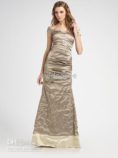 Off The Shoulder Round Neckline Flounced Brush Train Ruffles A-Line Homecoming Party Brown Dress