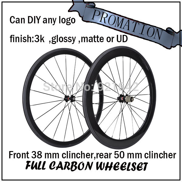 bicycle road wheel front 38mm rear 50 mm Clincher bicycle carbon fiber cycling glossy wheelset(China (Mainland))