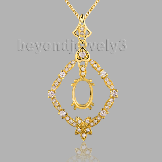 New!!! Wedding Jewelry 18Kt Yellow Gold Oval 5x7mm Semi Mount Pendant WP048(China (Mainland))