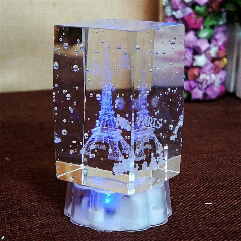 3D Craft Cube Paris Eiffel tower Crystal Light Figurines & Miniature luminous Lamp miniaturas Friend * Lover Birthday Gift Decor(China (Mainland))