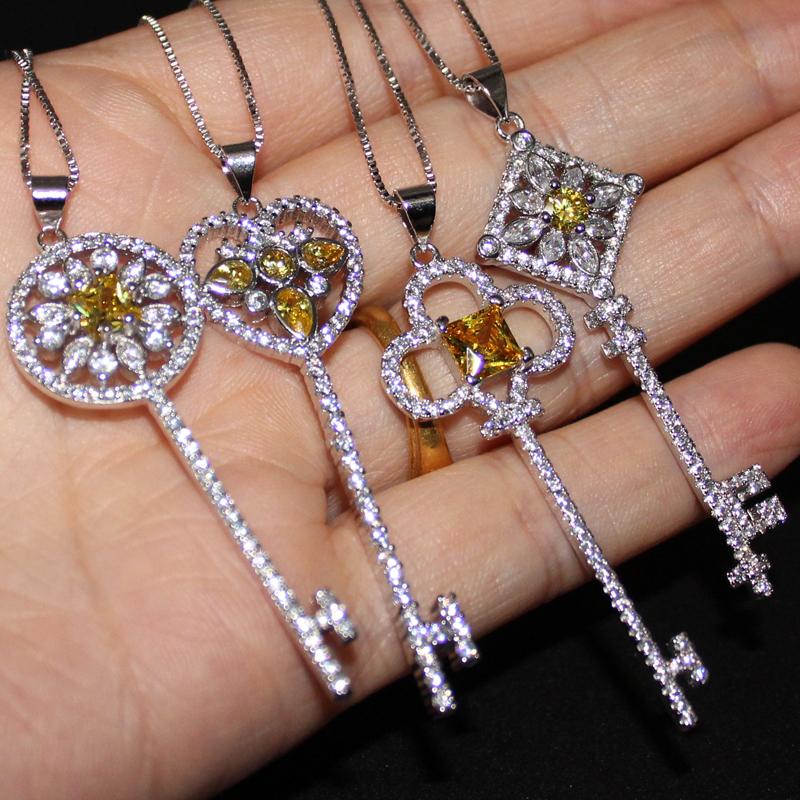 Lady's 925 Silver Yellow Topaz Simulated Diamond CZ Pave Set Heart Flower Key Pendant Choker Chain Sweater Necklace for Women(China (Mainland))