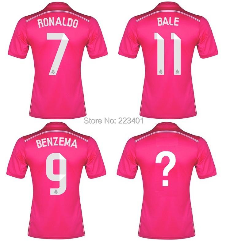 Top Thai quality 14/15 Real Madrid away soccer jersey ronaldo ozil 2014/2015 isco bale pepe pink red football shirt kit uniform(China (Mainland))