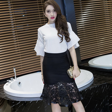 2016 New Women High Waisted Skirt Stitching Elastic Bag Hip Skirt Sexy Trumpet Bodycon Lace Skirt Women Black Red Skirt